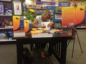 Janet signing Vertical at Barnes & Noble.
