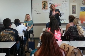 Working with students at Mission Hills High School.